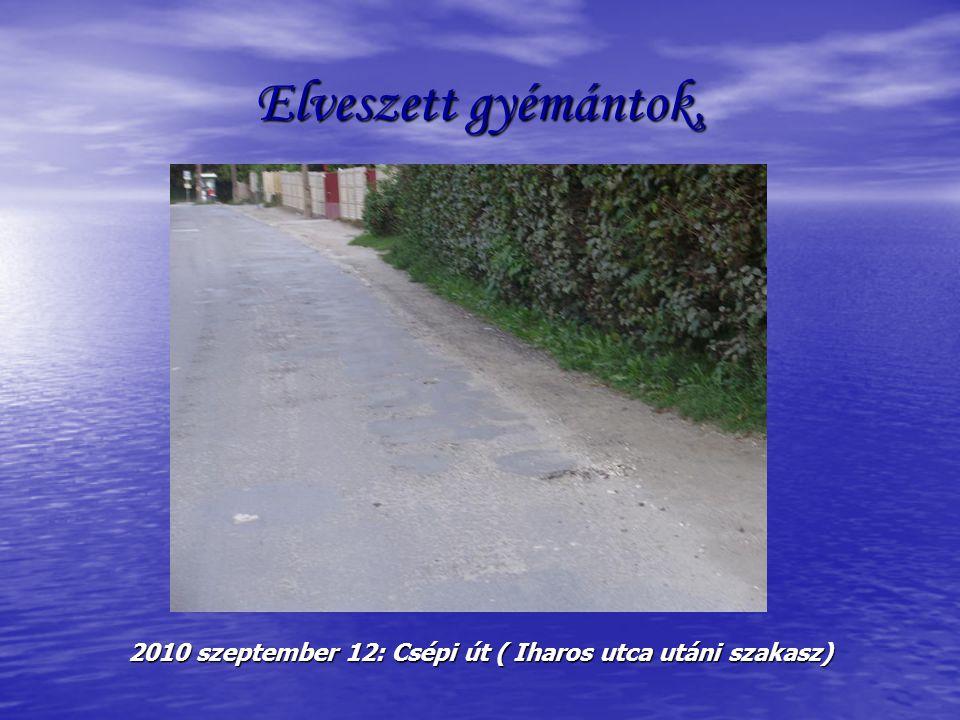 Elveszett gyémántok, 2010 szeptember 12: Csépi út ( Iharos utca utáni szakasz)