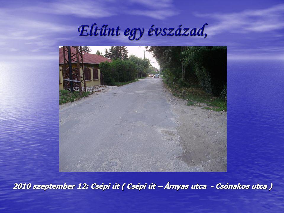 Eltűnt egy évszázad, 2010 szeptember 12: Csépi út ( Csépi út – Árnyas utca - Csónakos utca )