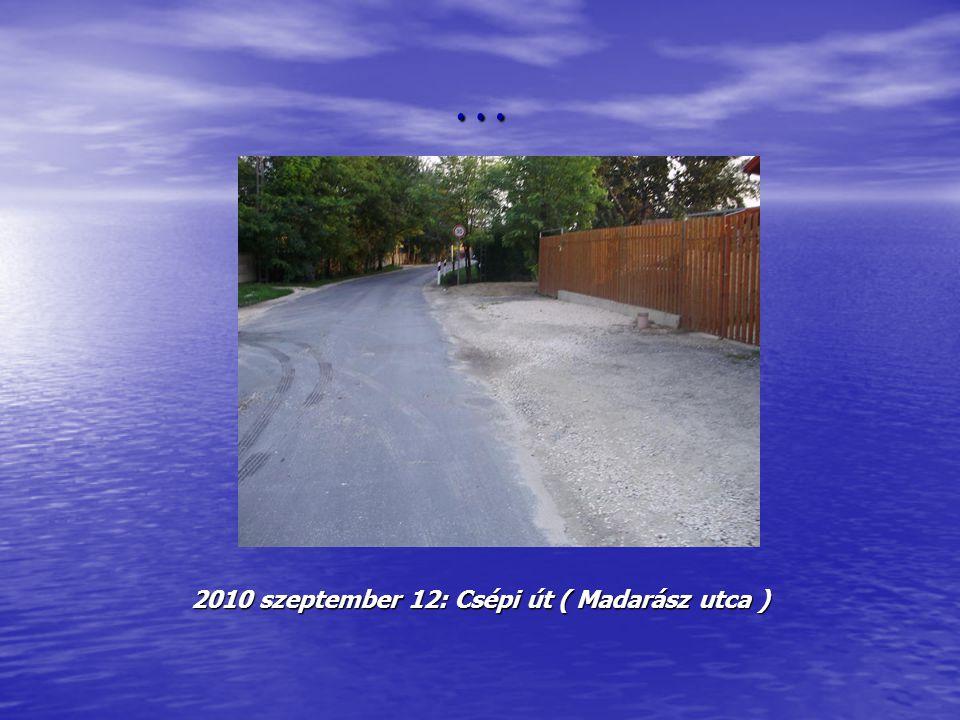 … 2010 szeptember 12: Csépi út ( Madarász utca )