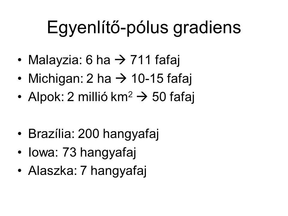 Egyenlítő-pólus gradiens Malayzia: 6 ha  711 fafaj Michigan: 2 ha  10-15 fafaj Alpok: 2 millió km 2  50 fafaj Brazília: 200 hangyafaj Iowa: 73 hang