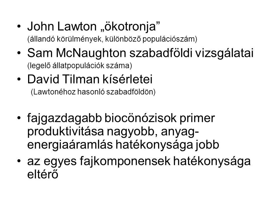 """John Lawton """"ökotronja"""" (állandó körülmények, különböző populációszám) Sam McNaughton szabadföldi vizsgálatai (legelő állatpopulációk száma) David Til"""