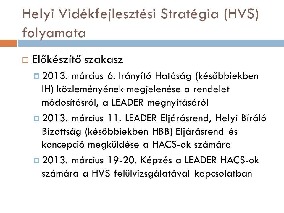 Helyi Vidékfejlesztési Stratégia (HVS) folyamata  Előkészítő szakasz  2013.