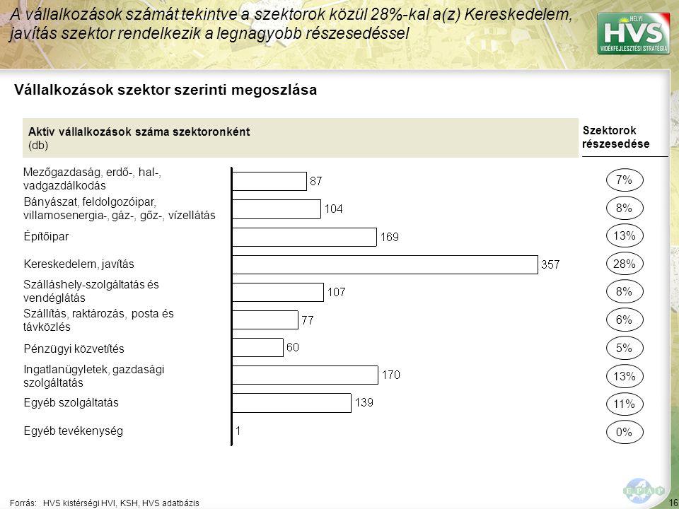 16 Forrás:HVS kistérségi HVI, KSH, HVS adatbázis Vállalkozások szektor szerinti megoszlása A vállalkozások számát tekintve a szektorok közül 28%-kal a(z) Kereskedelem, javítás szektor rendelkezik a legnagyobb részesedéssel Aktív vállalkozások száma szektoronként (db) Mezőgazdaság, erdő-, hal-, vadgazdálkodás Bányászat, feldolgozóipar, villamosenergia-, gáz-, gőz-, vízellátás Építőipar Kereskedelem, javítás Szálláshely-szolgáltatás és vendéglátás Szállítás, raktározás, posta és távközlés Pénzügyi közvetítés Ingatlanügyletek, gazdasági szolgáltatás Egyéb szolgáltatás Egyéb tevékenység Szektorok részesedése 7% 8% 28% 8% 6% 13% 11% 0% 13% 5%