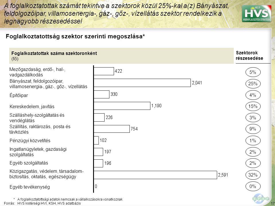 17 Foglalkoztatottság szektor szerinti megoszlása* A foglalkoztatottak számát tekintve a szektorok közül 25%-kal a(z) Bányászat, feldolgozóipar, villa