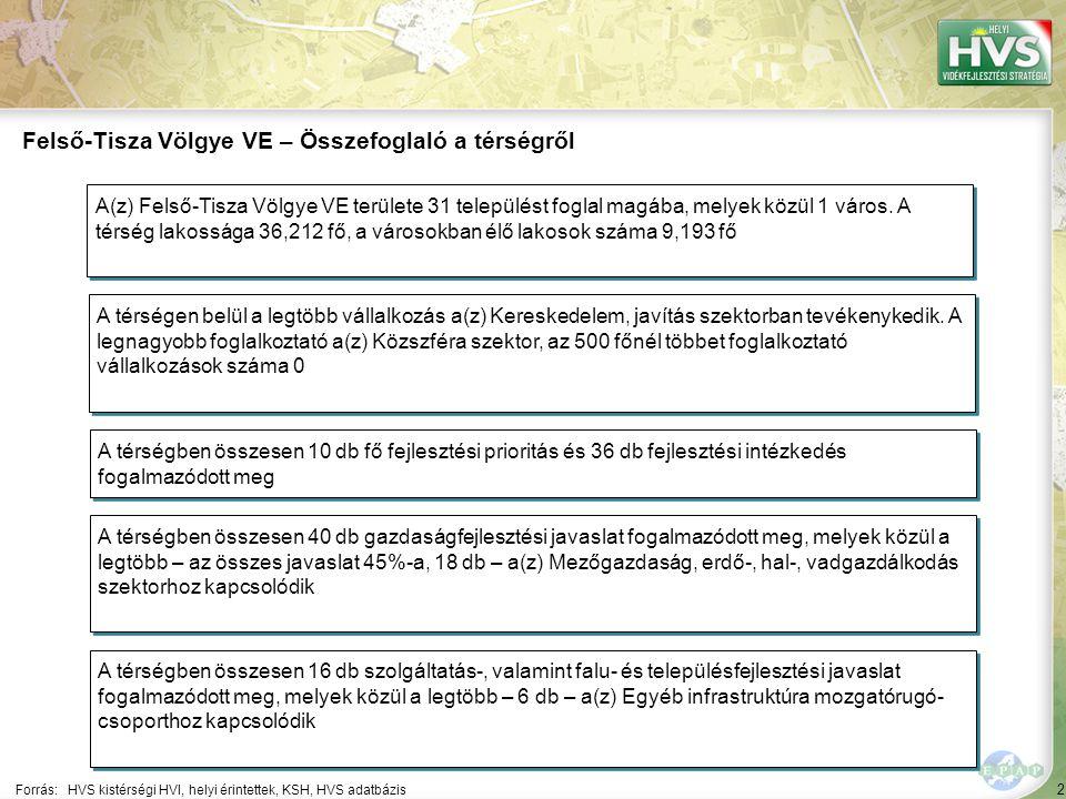 2 Forrás:HVS kistérségi HVI, helyi érintettek, KSH, HVS adatbázis Felső-Tisza Völgye VE – Összefoglaló a térségről A térségen belül a legtöbb vállalkozás a(z) Kereskedelem, javítás szektorban tevékenykedik.
