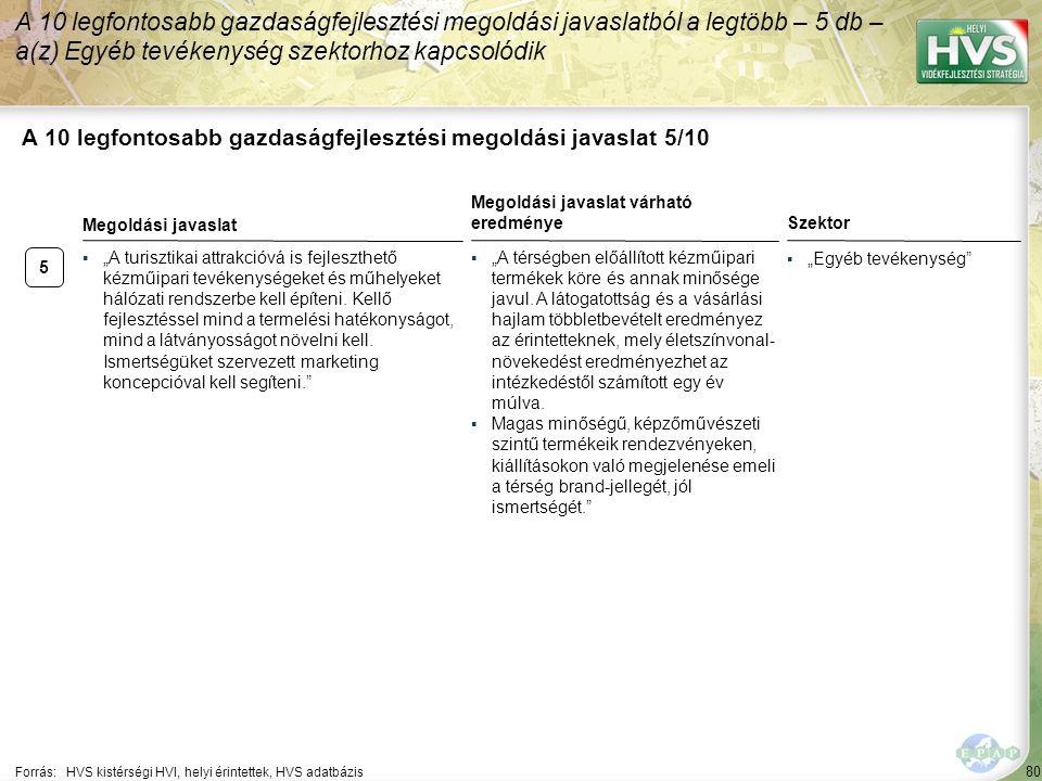 """80 A 10 legfontosabb gazdaságfejlesztési megoldási javaslat 5/10 Forrás:HVS kistérségi HVI, helyi érintettek, HVS adatbázis Szektor ▪""""Egyéb tevékenysé"""