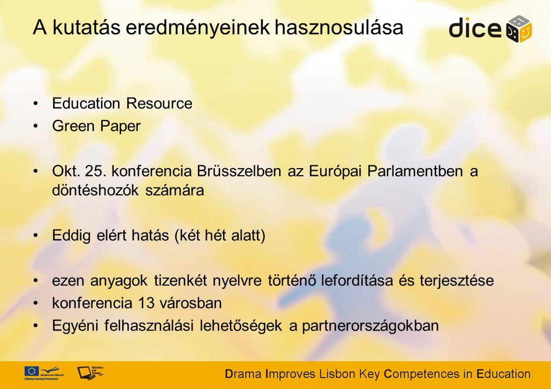 A kutatás eredményeinek hasznosulása Education Resource Green Paper Okt.
