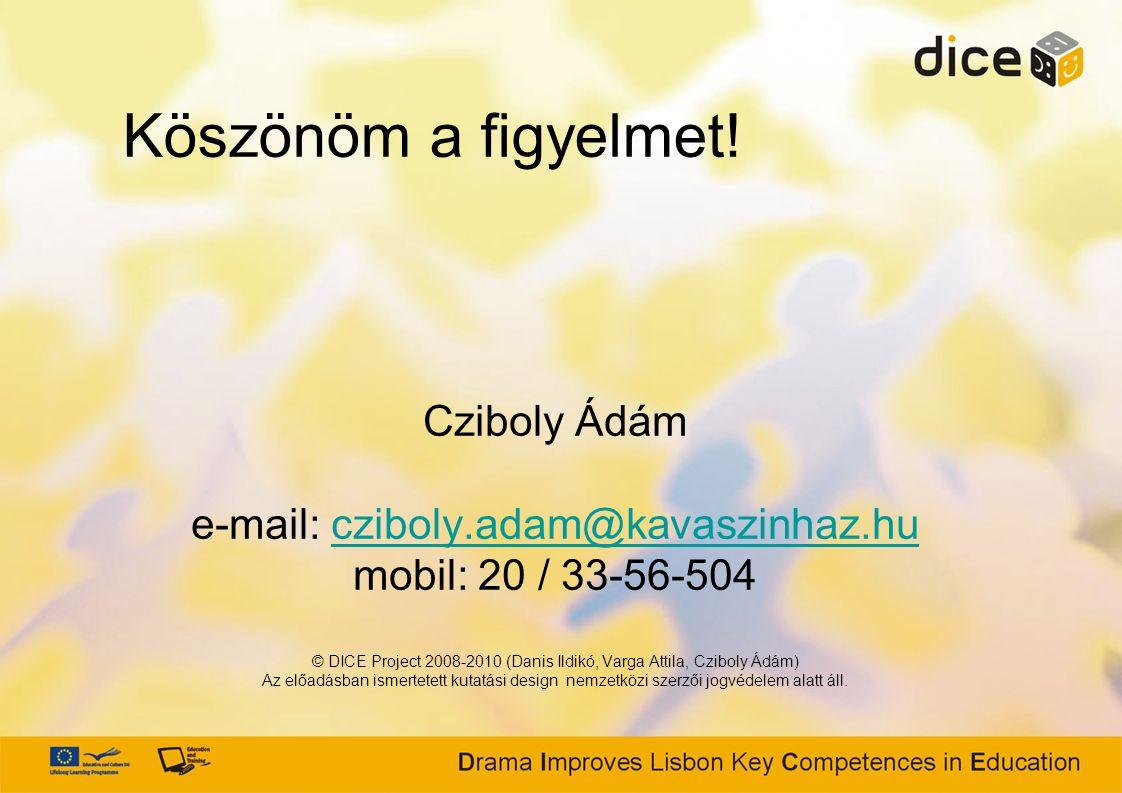 Cziboly Ádám e-mail: cziboly.adam@kavaszinhaz.hu mobil: 20 / 33-56-504 © DICE Project 2008-2010 (Danis Ildikó, Varga Attila, Cziboly Ádám) Az előadásban ismertetett kutatási design nemzetközi szerzői jogvédelem alatt áll.cziboly.adam@kavaszinhaz.hu Köszönöm a figyelmet!