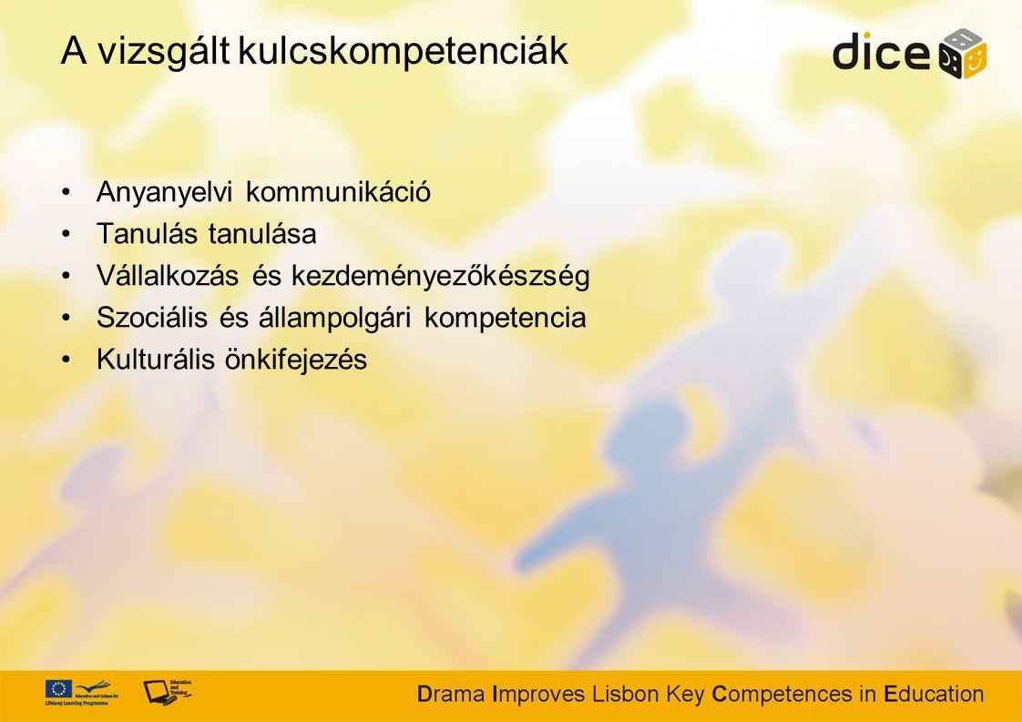 A vizsgált kulcskompetenciák Anyanyelvi kommunikáció Tanulás tanulása Vállalkozás és kezdeményezőkészség Szociális és állampolgári kompetencia Kulturális önkifejezés