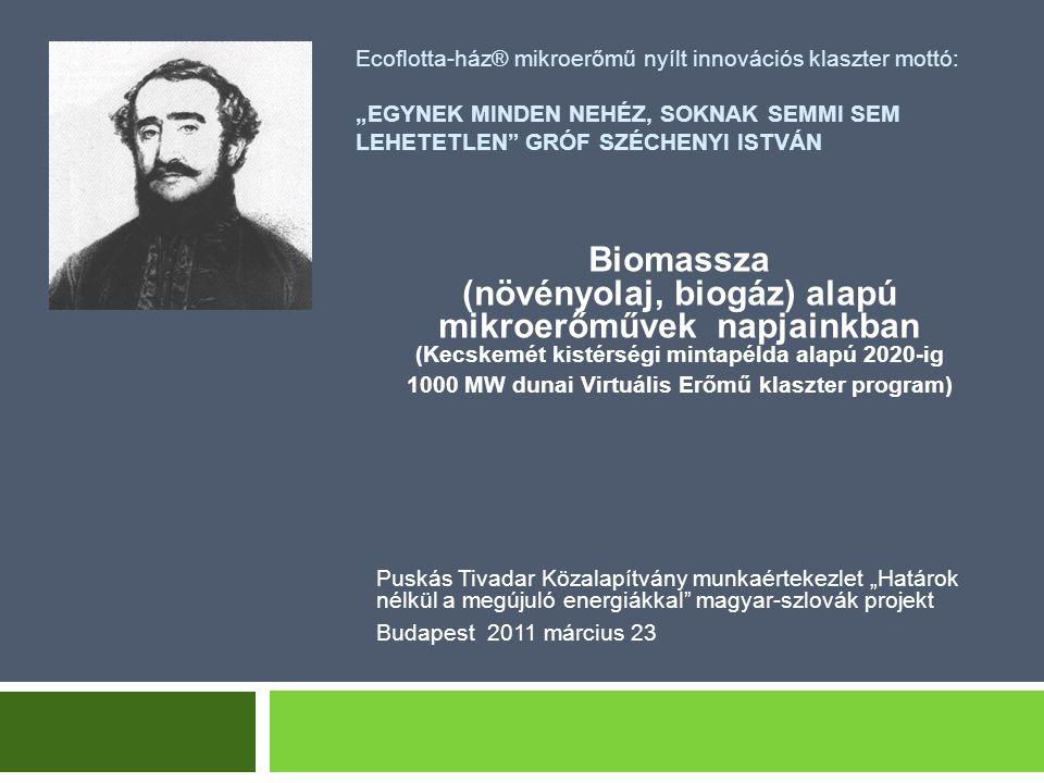 """Ecoflotta-ház® mikroerőmű nyílt innovációs klaszter mottó: """"EGYNEK MINDEN NEHÉZ, SOKNAK SEMMI SEM LEHETETLEN"""" GRÓF SZÉCHENYI ISTVÁN Biomassza (növényo"""