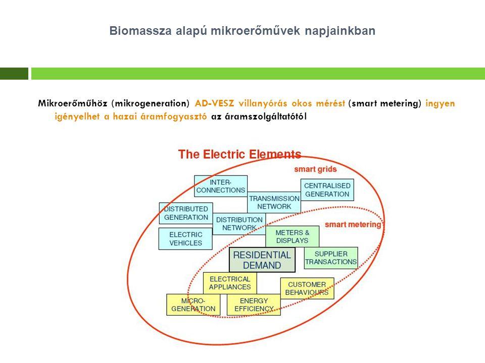 Mikroerőműhöz (mikrogeneration) AD-VESZ villanyórás okos mérést (smart metering) ingyen igényelhet a hazai áramfogyasztó az áramszolgáltatótól Biomass