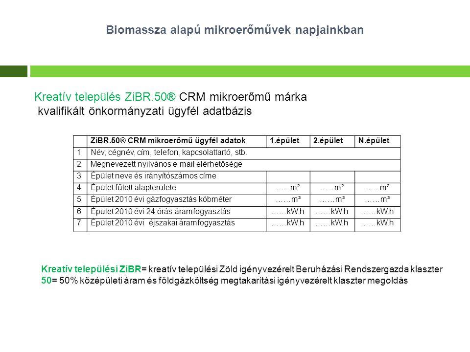Biomassza alapú mikroerőművek napjainkban Kreatív település ZiBR.50® CRM mikroerőmű márka kvalifikált önkormányzati ügyfél adatbázis ZiBR.50® CRM mikr