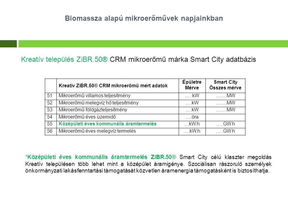 Biomassza alapú mikroerőművek napjainkban Kreatív település ZiBR.50® CRM mikroerőmű márka Smart City adatbázis *Középületi éves kommunális áramtermelé