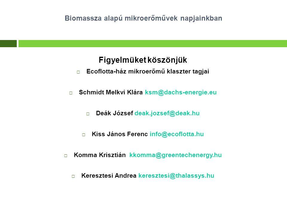Figyelmüket köszönjük  Ecoflotta-ház mikroerőmű klaszter tagjai  Schmidt Melkvi Klára ksm@dachs-energie.eu  Deák József deak.jozsef@deak.hu  Kiss