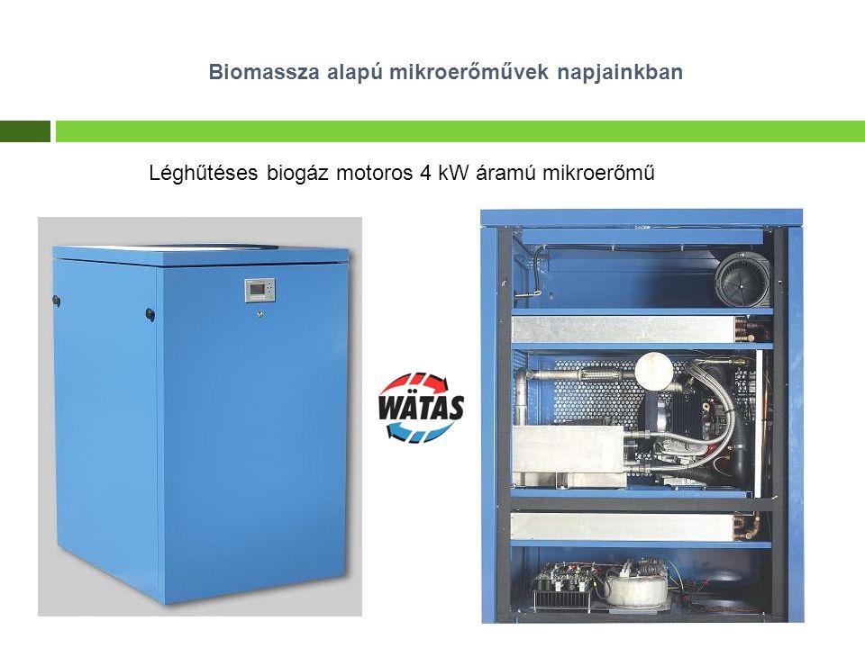Modulárisan változtatható biogázmotor teljesítmény: 3 kW elektromos 8-17 kW fűtési Biomassza alapú mikroerőművek napjainkban Léghűtéses biogáz motoros