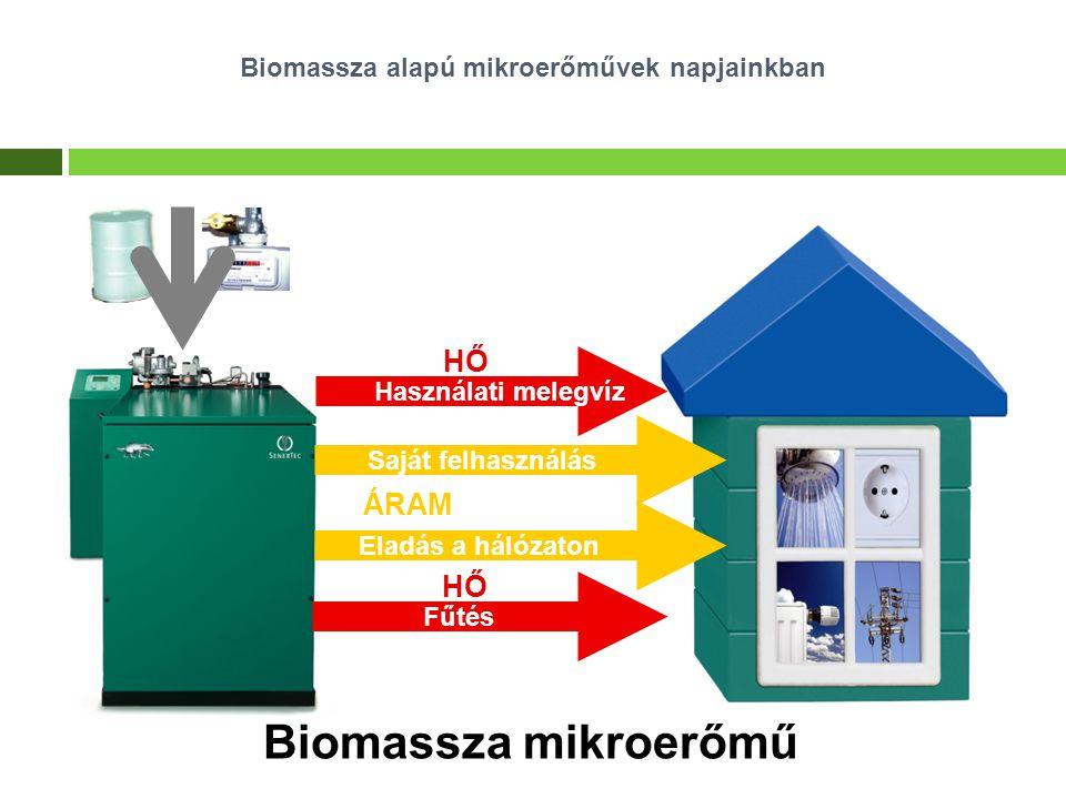 Biomassza mikroerőmű Biomassza alapú mikroerőművek napjainkban ÁRAM Eladás a hálózaton Saját felhasználás HŐ Használati melegvíz HŐ Fűtés