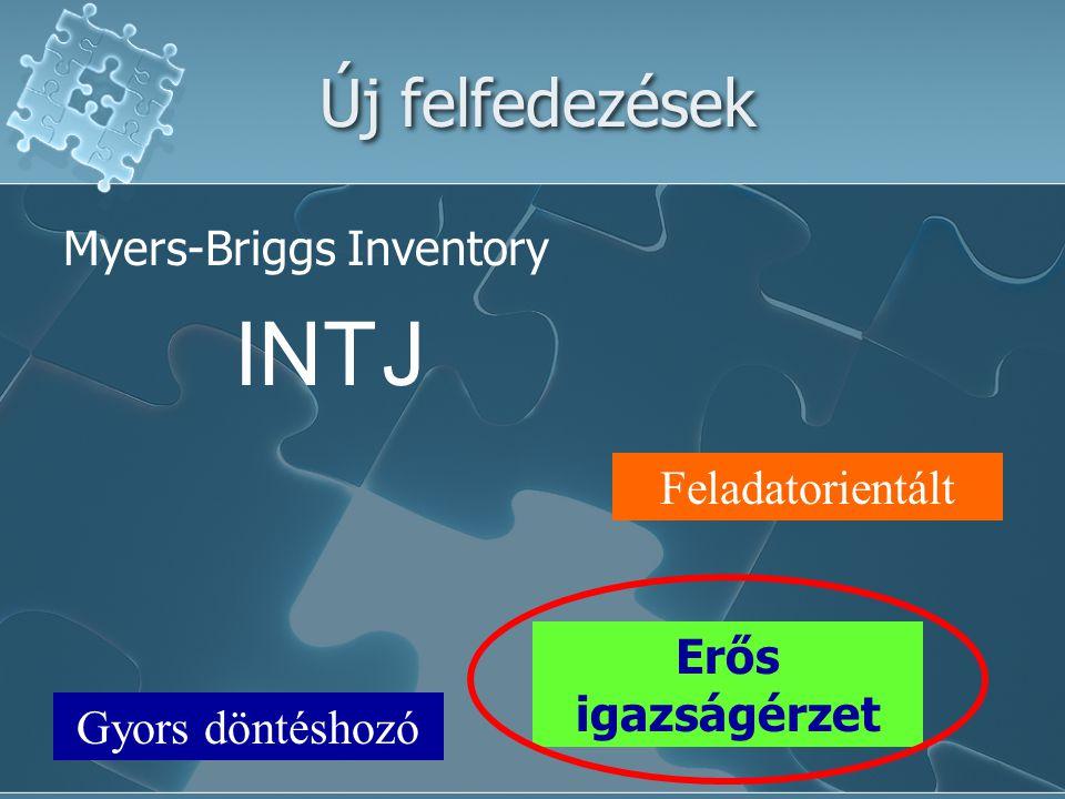 Új felfedezések INTJ Feladatorientált Gyors döntéshozó Erős igazságérzet Myers-Briggs Inventory