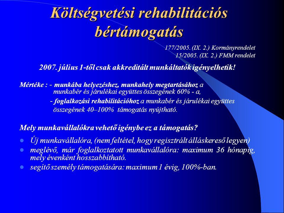 Költségvetési rehabilitációs bértámogatás 177/2005. (IX. 2.) Kormányrendelet 15/2005. (IX. 2.) FMM rendelet 2007. július 1-től csak akkreditált munkál