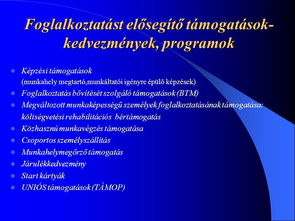 Foglalkoztatást elősegítő támogatások- kedvezmények, programok Képzési támogatások (munkahely megtartó,munkáltatói igényre épülő képzések) Foglalkozta