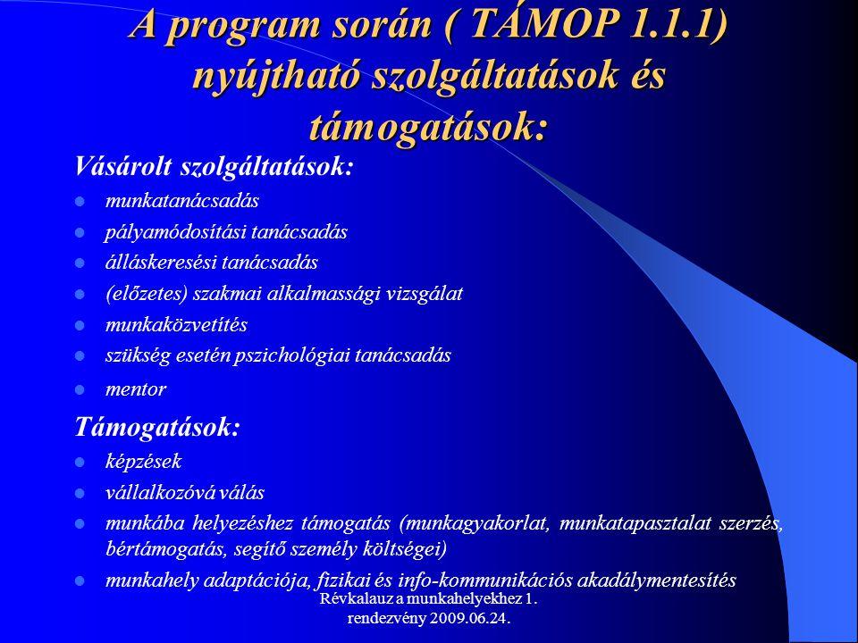 Révkalauz a munkahelyekhez 1. rendezvény 2009.06.24. A program során ( TÁMOP 1.1.1) nyújtható szolgáltatások és támogatások: Vásárolt szolgáltatások:
