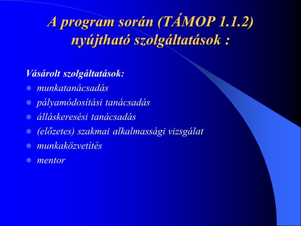 A program során (TÁMOP 1.1.2) nyújtható szolgáltatások : Vásárolt szolgáltatások: munkatanácsadás pályamódosítási tanácsadás álláskeresési tanácsadás