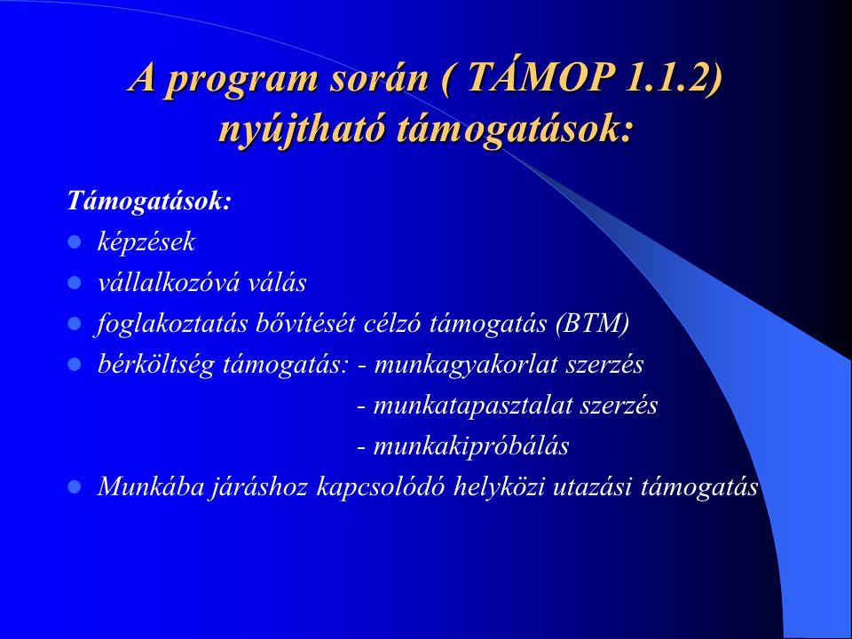 A program során ( TÁMOP 1.1.2) nyújtható támogatások: Támogatások: képzések vállalkozóvá válás foglakoztatás bővítését célzó támogatás (BTM) bérköltsé
