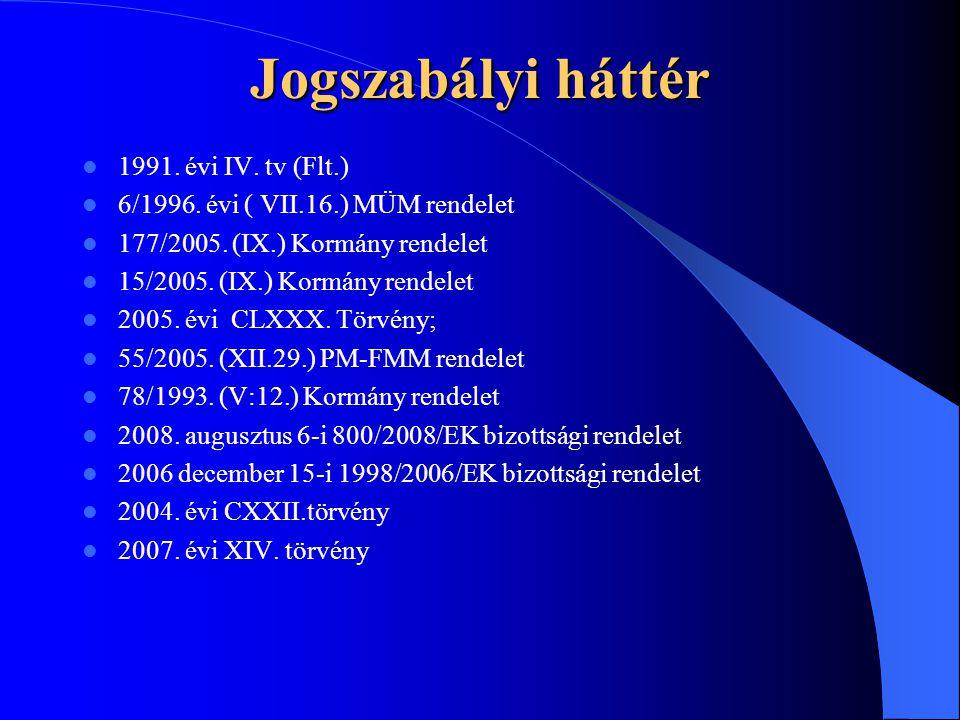Jogszabályi háttér 1991. évi IV. tv (Flt.) 6/1996. évi ( VII.16.) MÜM rendelet 177/2005. (IX.) Kormány rendelet 15/2005. (IX.) Kormány rendelet 2005.