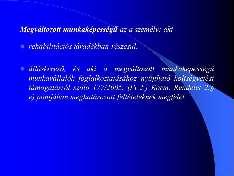 Költségvetési rehabilitációs bértámogatás 177/2005.
