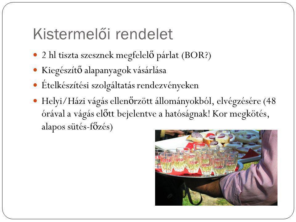 Kistermelői rendelet 2 hl tiszta szesznek megfelel ő párlat (BOR?) Kiegészít ő alapanyagok vásárlása Ételkészítési szolgáltatás rendezvényeken Helyi/H