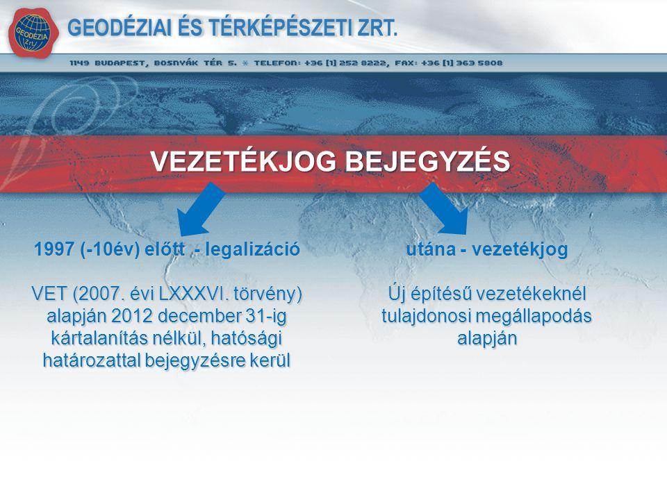 VEZETÉKJOG BEJEGYZÉS 1997 (-10év) előtt - legalizáció VET (2007.