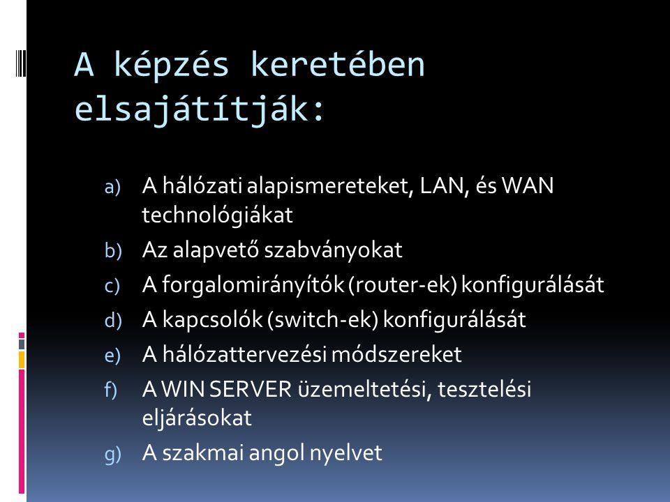 A képzés keretében elsajátítják: a) A hálózati alapismereteket, LAN, és WAN technológiákat b) Az alapvető szabványokat c) A forgalomirányítók (router-ek) konfigurálását d) A kapcsolók (switch-ek) konfigurálását e) A hálózattervezési módszereket f) A WIN SERVER üzemeltetési, tesztelési eljárásokat g) A szakmai angol nyelvet