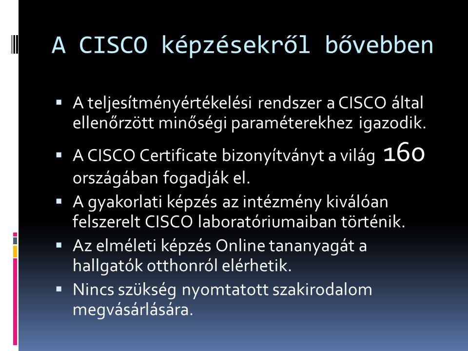 A CISCO képzésekről bővebben  A teljesítményértékelési rendszer a CISCO által ellenőrzött minőségi paraméterekhez igazodik.