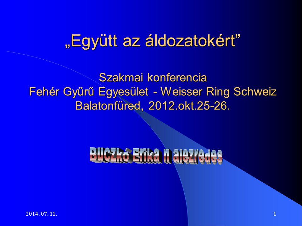 """2014. 07. 11.1 """"Együtt az áldozatokért"""" Szakmai konferencia Fehér Gyűrű Egyesület - Weisser Ring Schweiz Balatonfüred, 2012.okt.25-26. """"Együtt az áldo"""