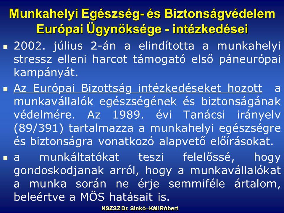 Munkahelyi Egészség- és Biztonságvédelem Európai Ügynöksége - intézkedései 2002.