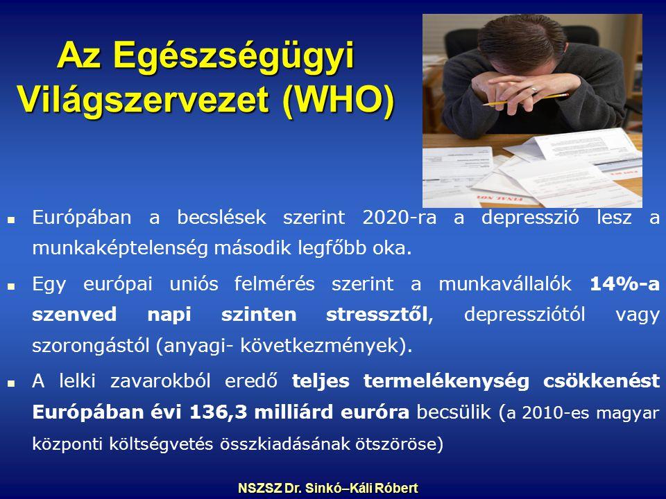 Az Egészségügyi Világszervezet (WHO) Európában a becslések szerint 2020-ra a depresszió lesz a munkaképtelenség második legfőbb oka.
