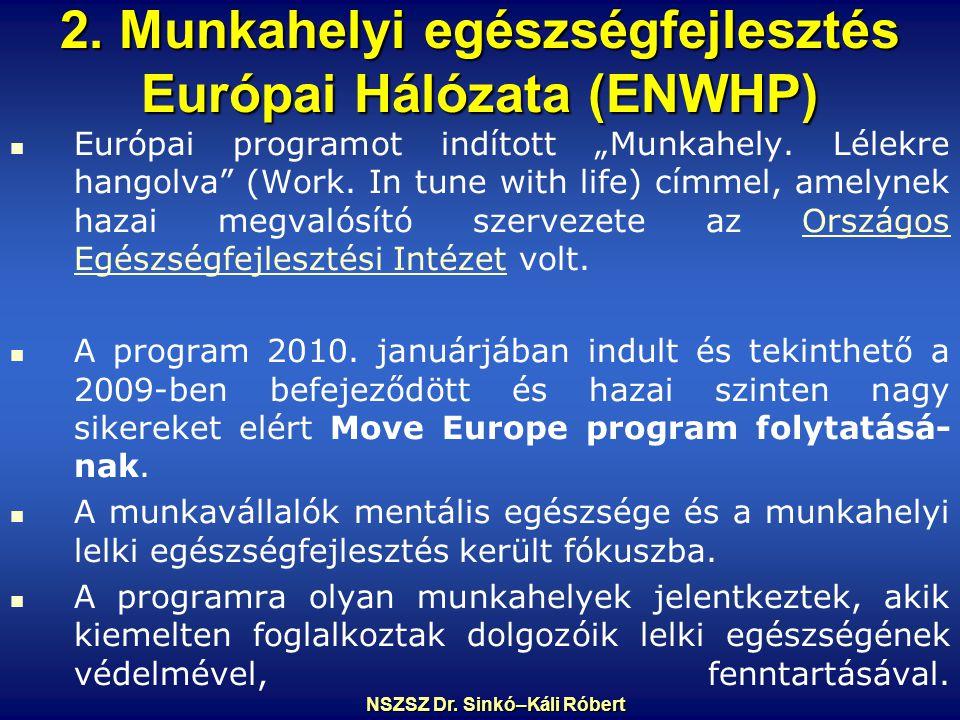 """2.Munkahelyi egészségfejlesztés Európai Hálózata (ENWHP) Európai programot indított """"Munkahely."""