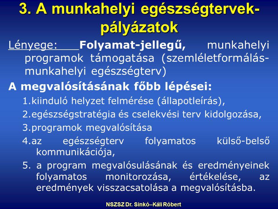 3. A munkahelyi egészségtervek- pályázatok Lényege: Folyamat-jellegű, munkahelyi programok támogatása (szemléletformálás- munkahelyi egészségterv) A m