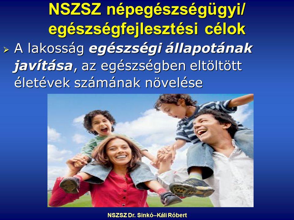 NSZSZ népegészségügyi/ egészségfejlesztési célok  A lakosság egészségi állapotának javítása, az egészségben eltöltött életévek számának növelése NSZSZ Dr.