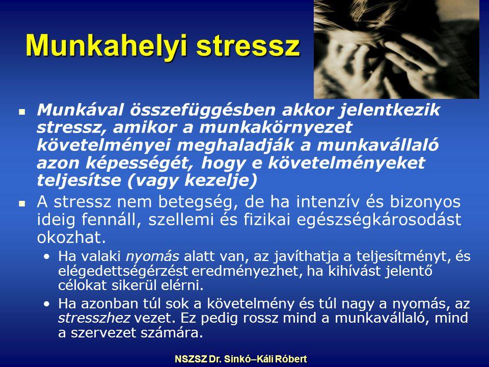 Munkahelyi stressz Munkával összefüggésben akkor jelentkezik stressz, amikor a munkakörnyezet követelményei meghaladják a munkavállaló azon képességét, hogy e követelményeket teljesítse (vagy kezelje) A stressz nem betegség, de ha intenzív és bizonyos ideig fennáll, szellemi és fizikai egészségkárosodást okozhat.