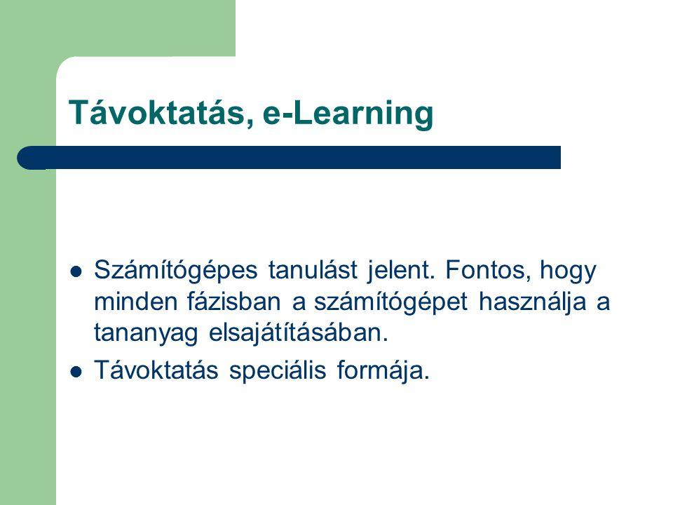 Távoktatás, e-Learning Számítógépes tanulást jelent.