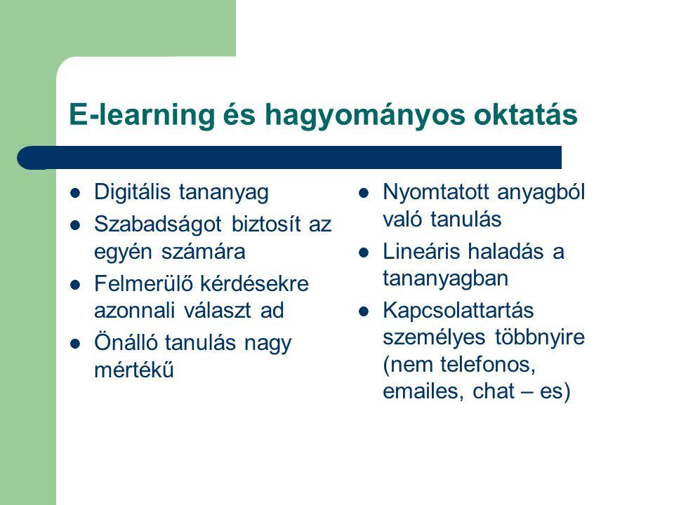 E-learning és hagyományos oktatás Digitális tananyag Szabadságot biztosít az egyén számára Felmerülő kérdésekre azonnali választ ad Önálló tanulás nag