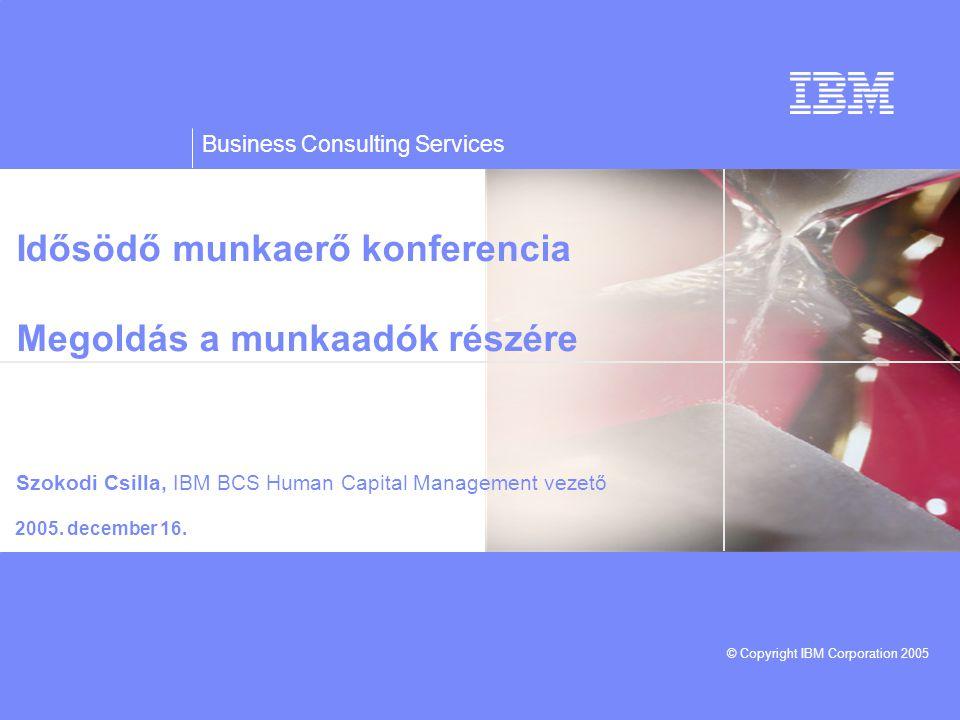 Business Consulting Services © Copyright IBM Corporation 2005 Idősödő munkaerő konferencia Megoldás a munkaadók részére 2005.