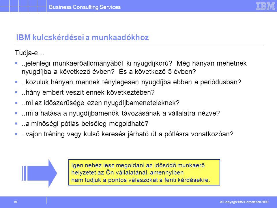 Business Consulting Services © Copyright IBM Corporation 2005 10 IBM kulcskérdései a munkaadókhoz Tudja-e… ..jelenlegi munkaerőállományából ki nyugdíjkorú.