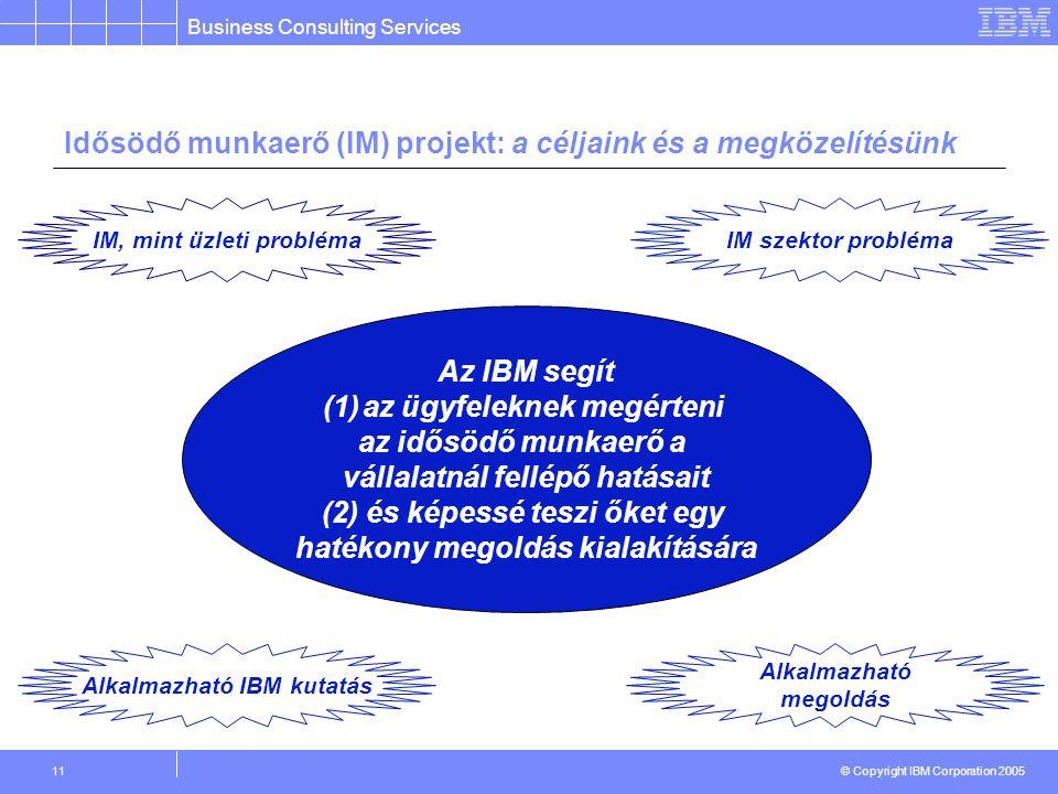 Business Consulting Services © Copyright IBM Corporation 2005 11 Idősödő munkaerő (IM) projekt: a céljaink és a megközelítésünk Az IBM segít (1)az ügyfeleknek megérteni az idősödő munkaerő a vállalatnál fellépő hatásait (2) és képessé teszi őket egy hatékony megoldás kialakítására IM, mint üzleti problémaIM szektor probléma Alkalmazható IBM kutatás Alkalmazható megoldás