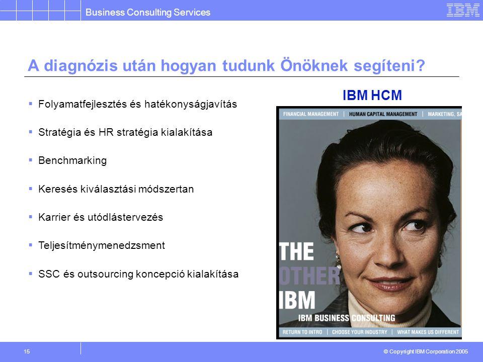 Business Consulting Services © Copyright IBM Corporation 2005 15 A diagnózis után hogyan tudunk Önöknek segíteni.