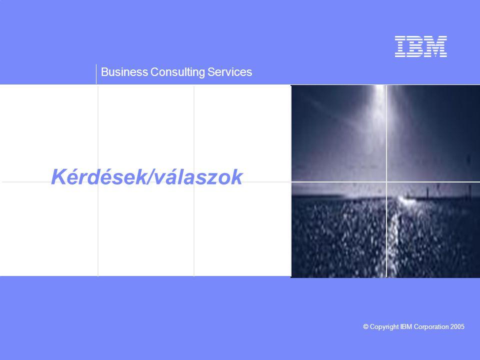 Business Consulting Services © Copyright IBM Corporation 2005 Kérdések/válaszok
