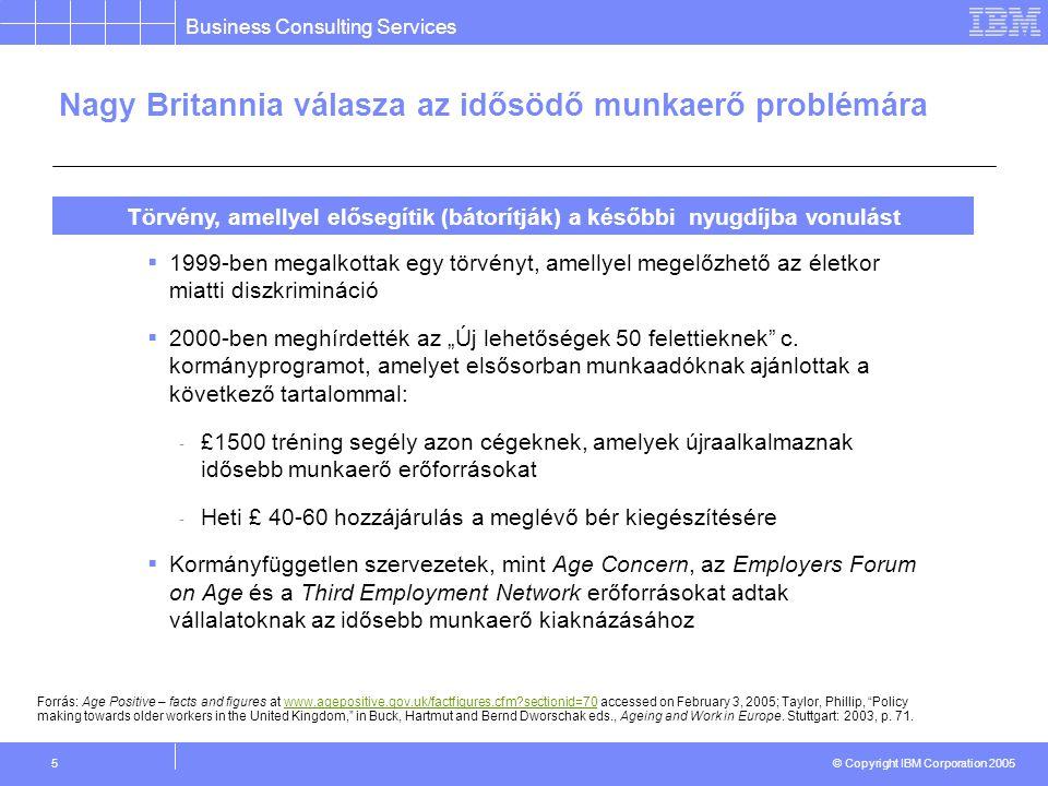 """Business Consulting Services © Copyright IBM Corporation 2005 5  1999-ben megalkottak egy törvényt, amellyel megelőzhető az életkor miatti diszkrimináció  2000-ben meghírdették az """"Új lehetőségek 50 felettieknek c."""