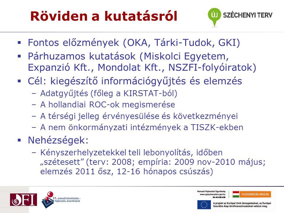 """Röviden a kutatásról  Fontos előzmények (OKA, Tárki-Tudok, GKI)  Párhuzamos kutatások (Miskolci Egyetem, Expanzió Kft., Mondolat Kft., NSZFI-folyóiratok)  Cél: kiegészítő információgyűjtés és elemzés –Adatgyűjtés (főleg a KIRSTAT-ból) –A hollandiai ROC-ok megismerése –A térségi jelleg érvényesülése és következményei –A nem önkormányzati intézmények a TISZK-ekben  Nehézségek: –Kényszerhelyzetekkel teli lebonyolítás, időben """"szétesett (terv: 2008; empíria: 2009 nov-2010 május; elemzés 2011 ősz, 12-16 hónapos csúszás)"""
