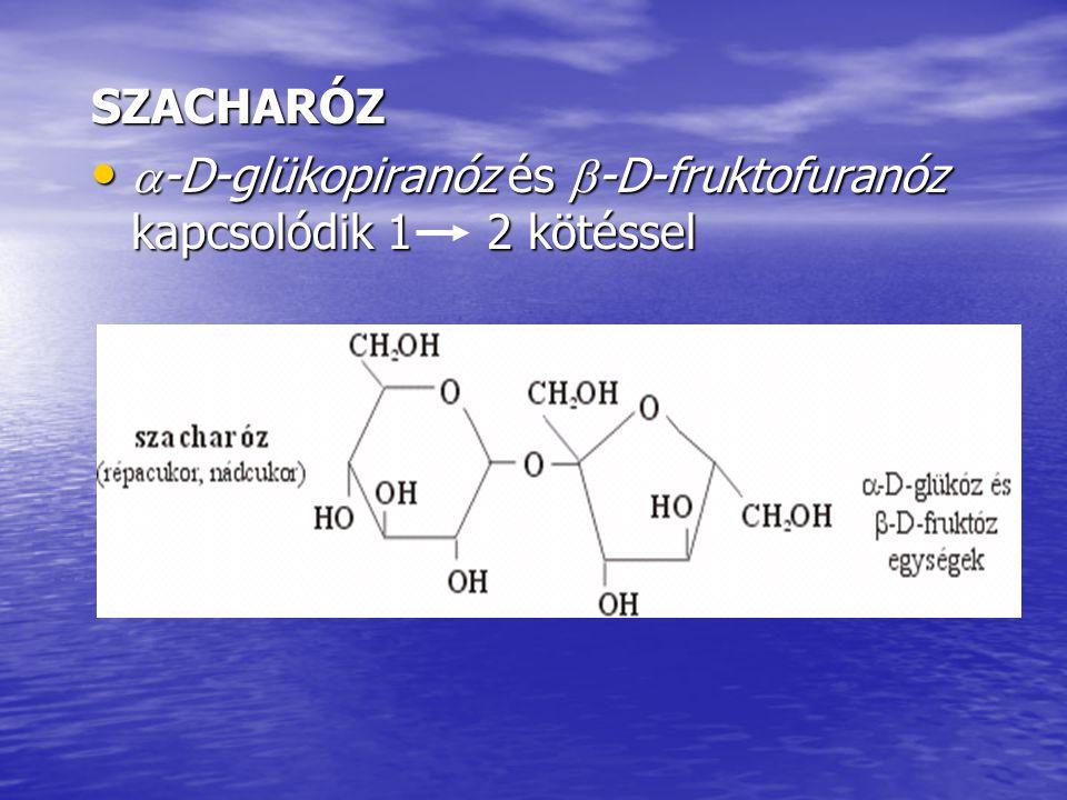 SZACHARÓZ  -D-glükopiranóz és  -D-fruktofuranóz kapcsolódik 1 2 kötéssel  -D-glükopiranóz és  -D-fruktofuranóz kapcsolódik 1 2 kötéssel