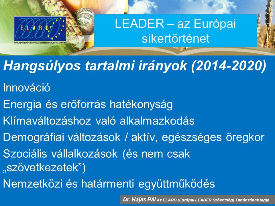 """LEADER – az Európai sikertörténet Hangsúlyos tartalmi irányok (2014-2020) Innováció Energia és erőforrás hatékonyság Klímaváltozáshoz való alkalmazkodás Demográfiai változások / aktív, egészséges öregkor Szociális vállalkozások (és nem csak """"szövetkezetek ) Nemzetközi és határmenti együttműködés Dr."""